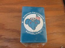 """VINTAGE PLAYING CARDS POLITICAL""""EVERYONE FOR ELEPHANTS"""" REPUBLICANS Blue NIP"""