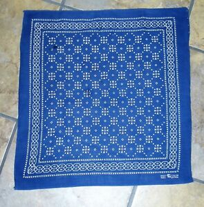 RARE ~ VERY EARLY ~ Blue ~ FAST COLOR ELEPHANT Trunk Up ~ BANDANA ~Selvage Edge