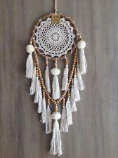 22x80cm Rattan Dream Catcher Crochet Web White/Cream Pom Poms Tassels Wood Beads