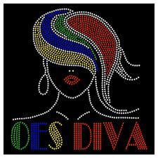 OES Diva Hair Sexy Order Eastern Star Hotfix Iron On Rhinestone Shirt Transfer