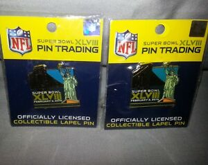 2 NFL SUPERBOWL XLVIII LAPEL PINS Collectible 2014 by WinCraft SEALED
