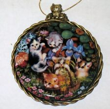 "Kitten Cats Expeditions Ornament "" IN THE FLOWER BED "" 1997 Bradford Exchange"
