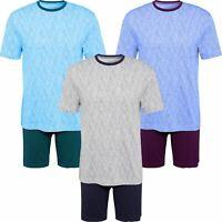 Mens Pyjama Short Sleeve Top & Shorts Set Pants Summer Pjs Cotton Mix Printed
