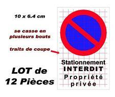 """Autocollant  """"stationnement interdit propriété privée"""" 12x"""