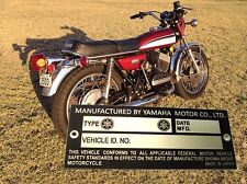 YAMAHA RD250 RD350 TX500 XS650 TX750 ecc, plate engraved ready and free shipping