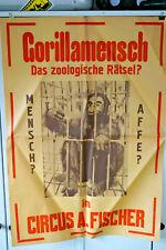 Zirkus Plakat 1950's A.Fischer - Der Gorillamensch - Ankündigung - 60x85cm