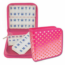 Pill Vitamins Organizer Travel Home 4-8 weeks Case Pink Magnetic  #PBO-R012P#