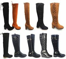 Clearance:  WOMEN LOW HEEL FLAT WINTER  QUILTED   RIDING ZIP CALF KNEE BOOTS SI