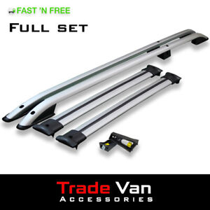 VW T5 T6 Transporter LWB Roof Rail and Cross Bar Rack Set Silver with load stops