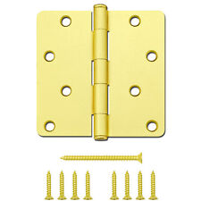 "Gatehouse 4""x4"" Satin Brass Gold Finish Door Hinge Steel 1/4"" Radius w/ Screws"