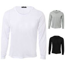 Unbranded Cotton Blend Long Sleeve Fitted T-Shirts for Men