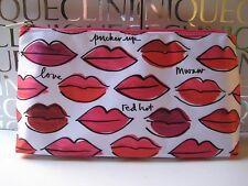 CLINIQUE~ KISSES LIPS Hot Pink & Red SATEEN Makeup Bag~So Cute & Pretty, NEW!
