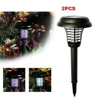2PCS Solar Powered LED Light Mosquito Pest Bug Zapper Insect Killer Lamp Garden