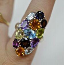 Sterling Silver Multi Gemstone Cluster Ring Size 6.75 GIE
