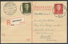 BRIEFK.12½ CT.EN FACE G306,BIJFRANK.15 CT.EN FACE ALS R-KAART AMSTERDAM '52Ad786