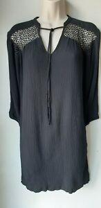 Ladies black smock dress embroidered boho long sleeve tunic