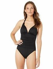 $129 La Blanca Island Goddess V-Neck Halter Mio One Piece Swimsuit, Black Size 8