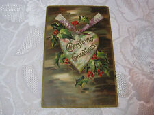 CHRISTMAS GREETINGS WITH HEART AND HOLLY DESIGN ANTIQUE GERMAN POSTCARD  T*