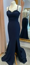 PIA MICHI 11281 NAVY BACKLESS PROM PAGEANT EVENING GOWN BNWT