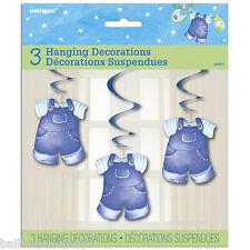 3 Blue Boy's Carino Clothesline Baby Shower Party da appendere ritagli SWIRLS
