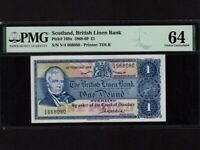 Scotland:P-169a,1 Pound,1968 * British Linen Bank * PMG Ch. Gem UNC 64 *
