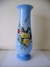 Glass Vase Victorian Enamel Antique Painted Hand Opaline Enameled Blue Floral