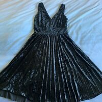 Modcloth Splendorous Spree Black Velvet Dress Size Small Pleated Fit and Flare
