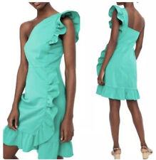 NWT J. Crew One Shoulder Ruffle Mini Green Dress Size 2