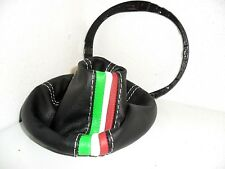 FIAT 500 shift boot black genuine leather + tricolor full of frame plastic