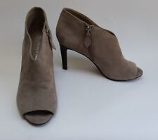 Franco Sarto Shoes Booties Peep Toe Suede Zipper Beige Womens Size 7.5 W / 38