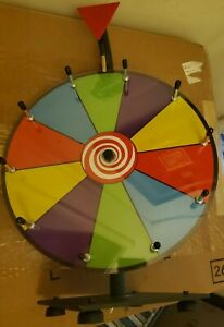 """Portable Spinning Game Prize Wheel Tabletop 10 Slots Color W/ Dry Erase 12"""" RARE"""