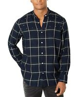 INC NEW Blue Mens Size Small S Star Studded Plaid  Banded Collar Shirt $65 #048