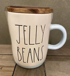 Rae Dunn - JELLY BEANS LL - Blue Ceramic Coffee Mug w Cellar Lid - Easter Spring