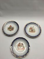 Vintage Set 3 Plates Dutch Boy & Girl Gold Floral Trim Dessert Saucer 5.75""