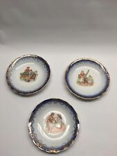 """Vintage Set 3 Plates Dutch Boy & Girl Gold Floral Trim Dessert Saucer 5.75"""""""