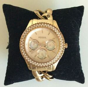 Fossil Stella Watch Rose Gold Tone Pave Link Band ES3500 7 Inch New Battery