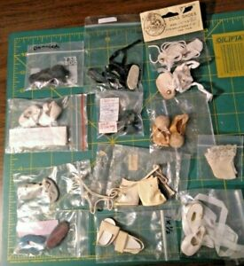12 PR LOT ASSORTED USED SMALL DOLL SHOES TLC MINOR DAMAGE STAINS 1 PAIR SOCKS
