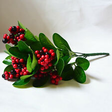 Green Plant Flowers Artificial Leaf Red Fruit Wedding Foilage Fake Tree