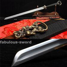 1060 CARBON STEEL FULL TANG SHARP BLADE ROSEWOOD  CHINESE RING CHI BI SWORD