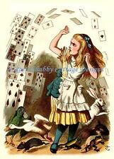 Alice In Wonderland Crazy Flying Cards Fabric Block 5x7