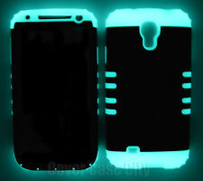 Glow in Dark Silicone w/ Black Hard Cover Case for Samsung Galaxy S4 S IV i9500