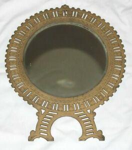 "Antique 1890 Patented Brass Circular Mirror 15"" H x 12"" W"