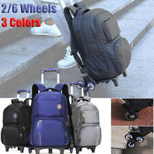 New 2/6 Wheels Multi-functional Removable Travel Trolley Backpack School Bag  !