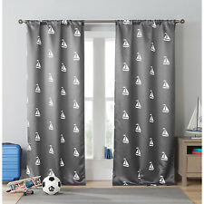 Duck River Sailboat Heavy Blackout Pole Top Curtain Panel Pair Gray