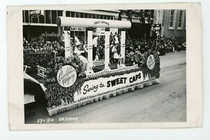 RPPC Real Photo Postcard parade float Calgary Stampede Sweet Caporal  vintage