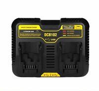 New Dual Port Battery Charger For Dewalt DCB102 12V-20V MAX Li-Ion DCB120 DCB200