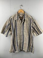Campier Moda Men's Vintage Short Sleeve Casual Geo Shirt Size XL Blue Brown
