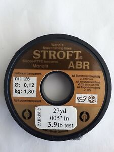 1 spool of STROFT ABR monofil  27yd 3.9lb test Light Brown Transp.