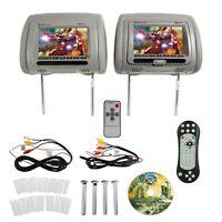 "Rockville RDP711-GR 7"" Grey Car Headrest Monitors w/DVD Player/USB/HDMI+Games+SD"