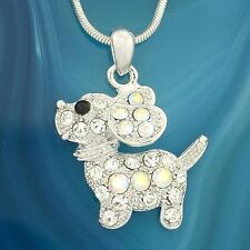 "Dog W Swarovski Crystal Beagle Puppy Pet Friend Pendant Necklace 18"" Chain Gift"
